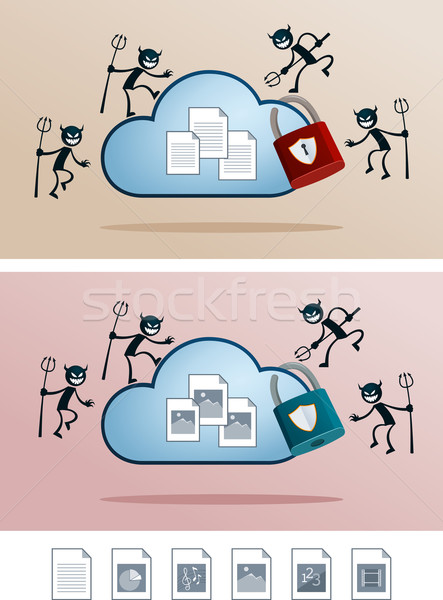 file in the cloud storage attacked by computer virus Stock photo © riedjal