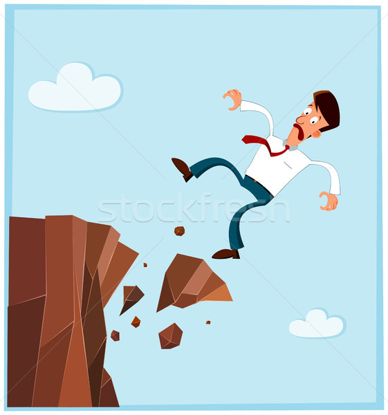businessman falling from the side of cliff Stock photo © riedjal