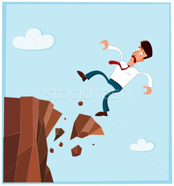 Geschäftsmann fallen Seite Klippe gescheitert Himmel Stock foto © riedjal