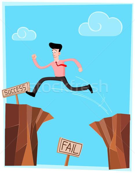 Klippe Geschäftsmann Zeichen Erfolg Himmel glücklich Stock foto © riedjal