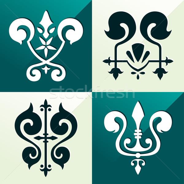 Mittelalterlichen Emblem Ornament unterschiedlich Zweck Stock foto © riedjal