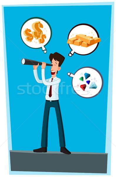 Geschäftsmann Geld glücklich Erfolg Ziel Dollar Stock foto © riedjal
