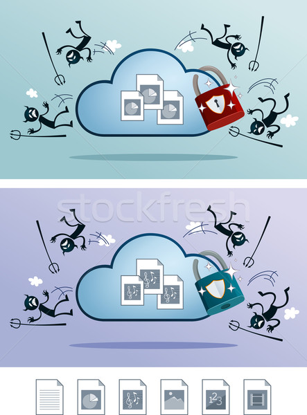 Fichier nuage stockage protégé virus informatique illustration Photo stock © riedjal