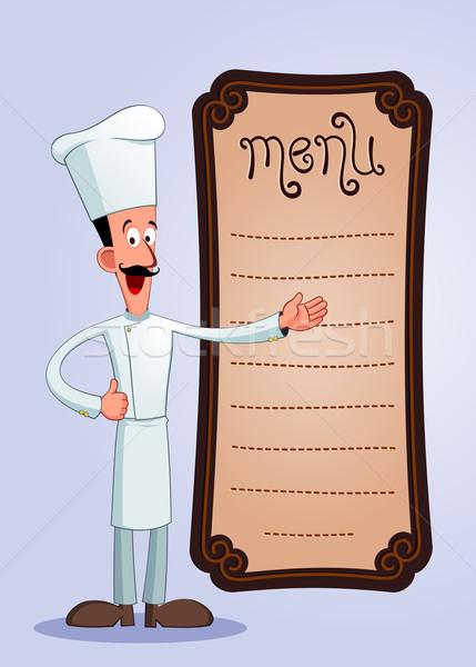 Freundlich Küchenchef groß Schnurrbart bietet Menü Stock foto © riedjal