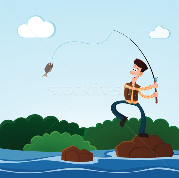 fishing in the river Stock photo © riedjal