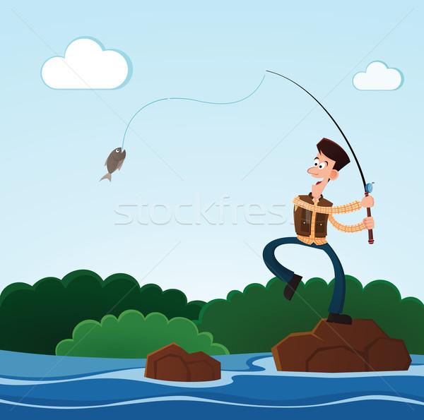 Fischerei Fluss junger Mann glücklich Fisch Lächeln Stock foto © riedjal