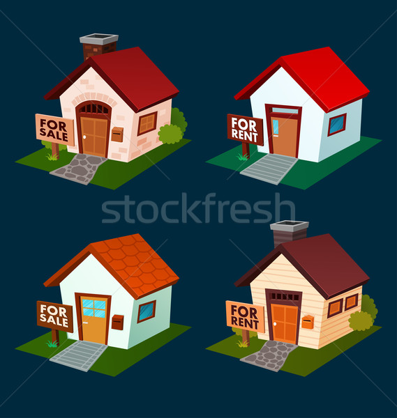 Haus Verkauf mieten Illustration Verkauf Stock foto © riedjal