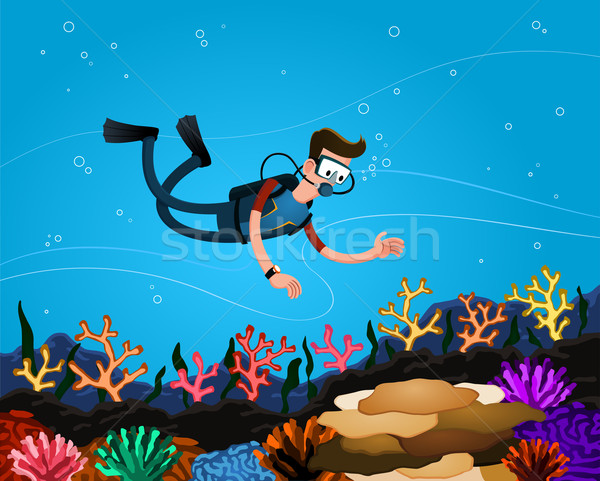 enjoying coral reef Stock photo © riedjal