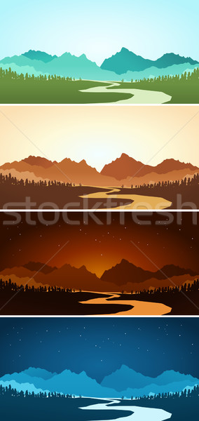 mountain scenery in various color Stock photo © riedjal