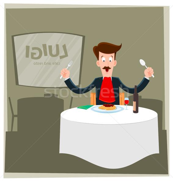 человека еды спагетти иллюстрация только ресторан Сток-фото © riedjal