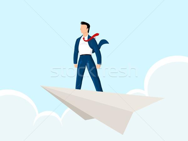Papier Flugzeug Geschäftsmann stehen Himmel kann Stock foto © riedjal