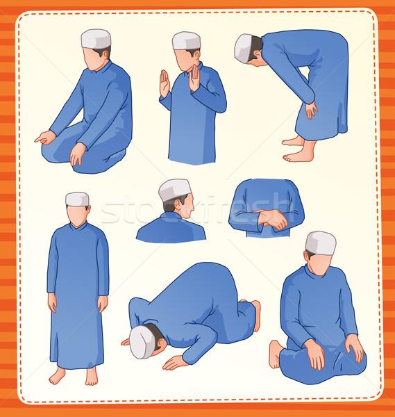 muslim praying postion Stock photo © riedjal