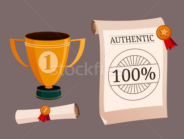 набор иллюстрация трофей сертификата успех Кубок Сток-фото © riedjal