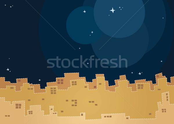 City night Landschaft Sternenhimmel Kinder Geschichte Buch Stock foto © riedjal