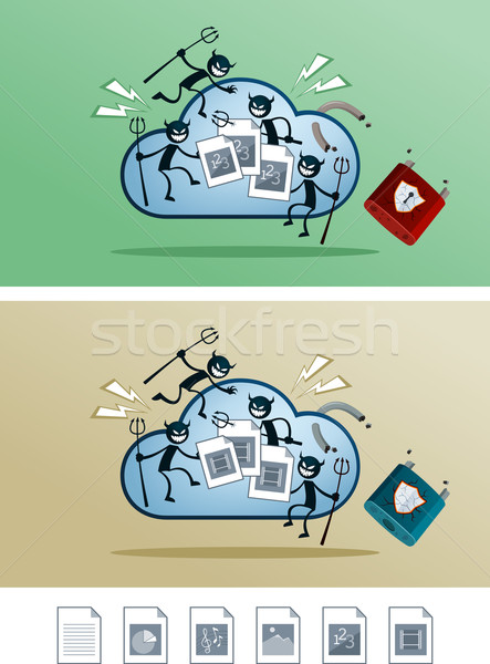 file in the cloud storage damaged by computer virus Stock photo © riedjal