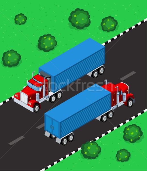 isometric truck Stock photo © riedjal