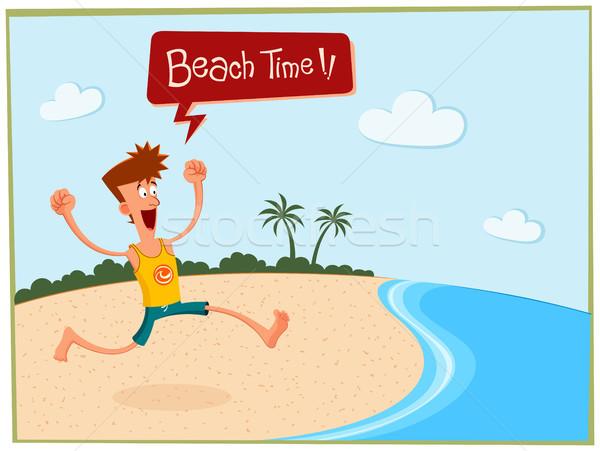 Sommer Strand junger Mann genießen Sommerurlaub Mann Stock foto © riedjal