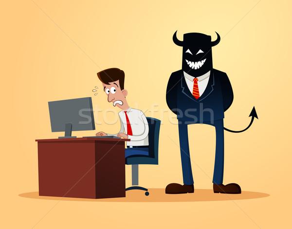 Ijesztő felügyelő irodai dolgozó ijedt munka munkás Stock fotó © riedjal