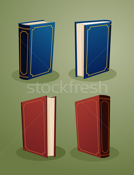 illustration of books in various angle Stock photo © riedjal