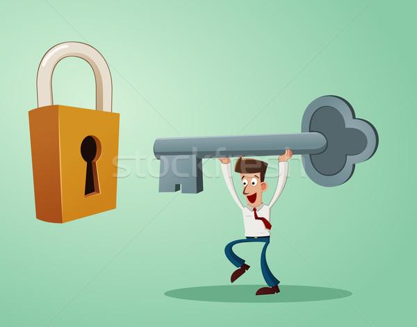Problem Büroangestellte Schlüssel Schlüsselloch Vorhängeschloss Büro Stock foto © riedjal