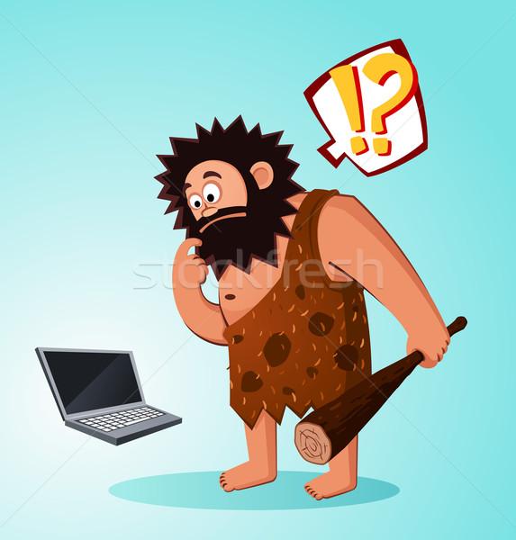 Höhlenmensch Laptop Alter überrascht finden Computer Stock foto © riedjal