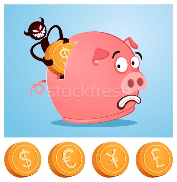 Diebstahl Geld Sparschwein Teufel Dollar Bösen Stock foto © riedjal