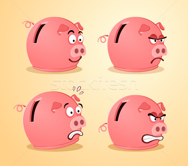 various expression of piggybank Stock photo © riedjal
