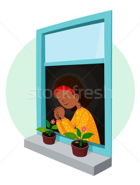 African girl praying Stock photo © riedjal