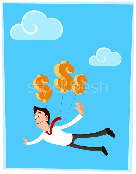 доллара бизнесмен успех Flying символ деньги Сток-фото © riedjal