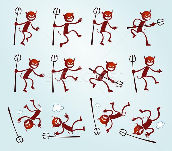 Unterschiedlich darstellen Teufel Illustration Lächeln glücklich Stock foto © riedjal