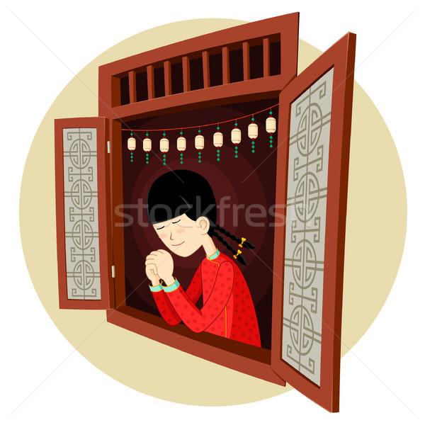 Kínai lány imádkozik ablak visel mű Stock fotó © riedjal
