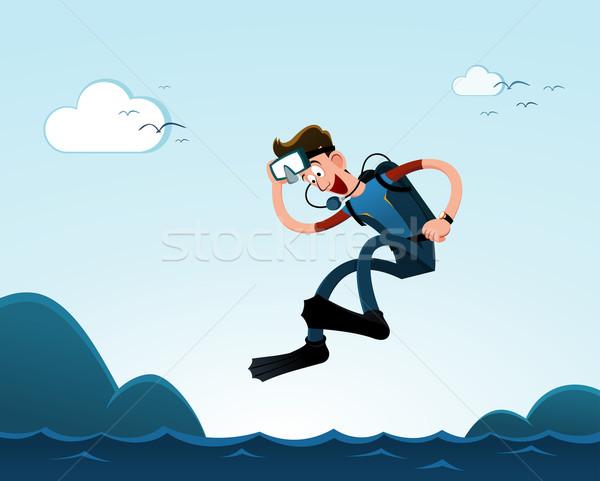Springen Meer junger Mann bereit Tauchen tief Stock foto © riedjal