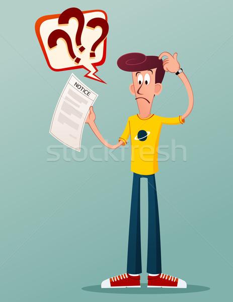 Benachrichtigung Schreiben junger Mann verwechselt Papier Stock foto © riedjal