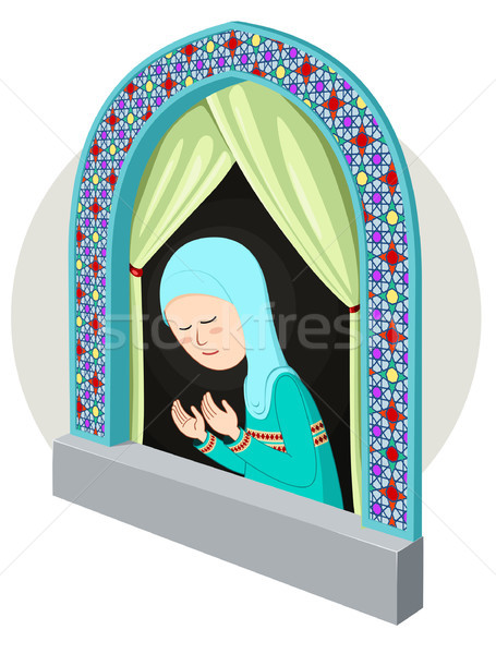 Arabic girl praying in the window Stock photo © riedjal