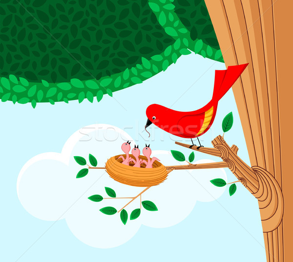 птица ребенка иллюстрация красный Сток-фото © riedjal