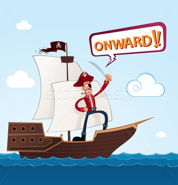 Piraat zeilschip commando schip wolk avontuur Stockfoto © riedjal
