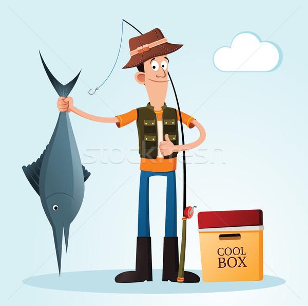 создают молодым человеком человека счастливым рыбалки успех Сток-фото © riedjal
