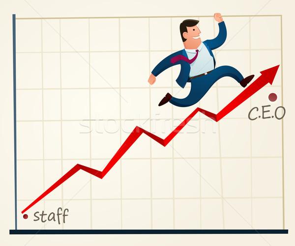 Classificar aceleração jovem empregado topo escritório Foto stock © riedjal