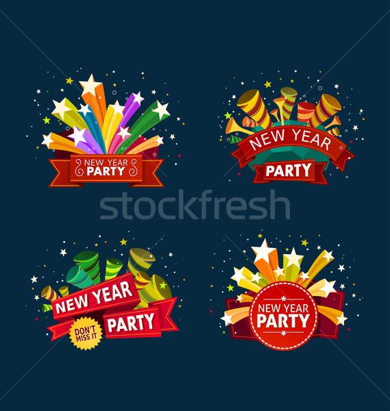 Neujahr Party Veranstaltung unterschiedlich farbenreich Banner Stock foto © riedjal