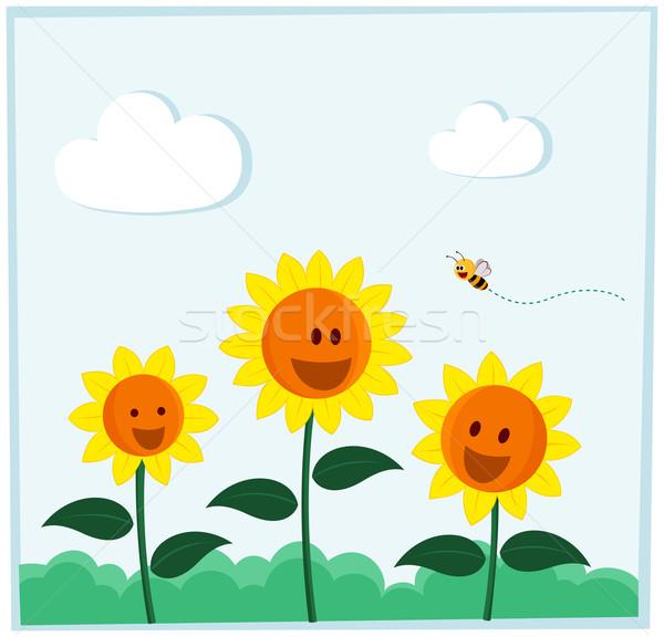 Lächelnd Sonnenblumen Biene glücklich hellen Tageslicht Stock foto © riedjal