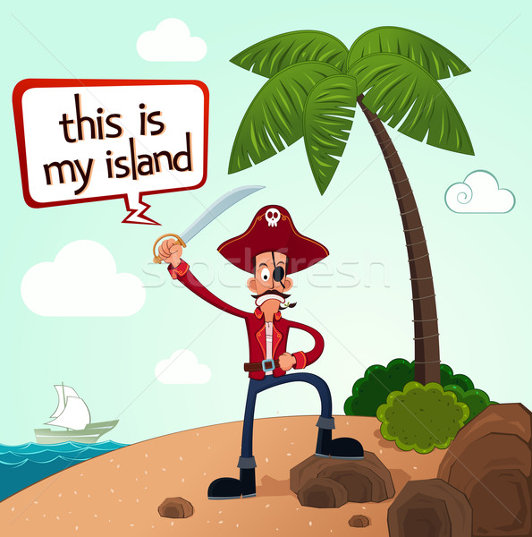 pirate discover an island Stock photo © riedjal