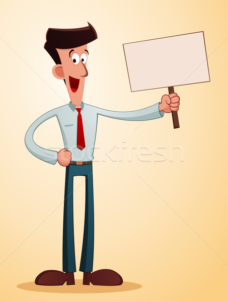 smiling businessman carrying a talkingboard Stock photo © riedjal