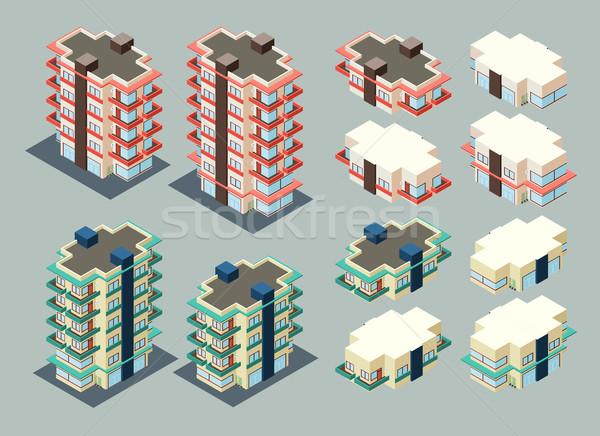 изометрический здании высота отель недвижимости Cartoon Сток-фото © riedjal
