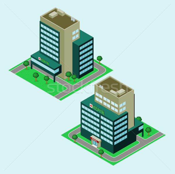 Isométrica hospital jardim imóveis desenho animado moderno Foto stock © riedjal