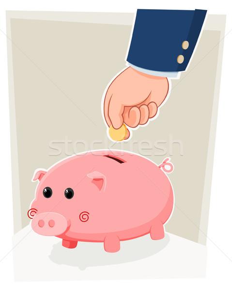 Sparschwein Geschäftsmann Speichern Geld cute Stock foto © riedjal