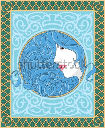 Beautiful girl with art nouveau style Stock photo © riedjal