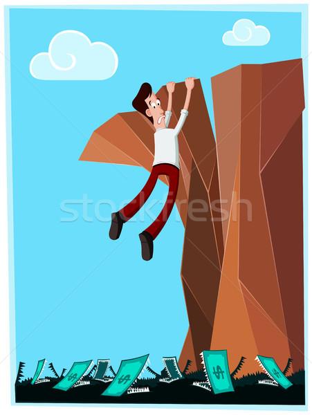 Gefährlich Klippe Geschäftsmann Gefahr hängen unterhalb Stock foto © riedjal