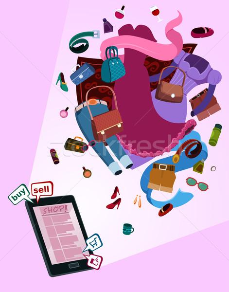 Online Laden Frauen Illustration Gadget unterschiedlich Stock foto © riedjal