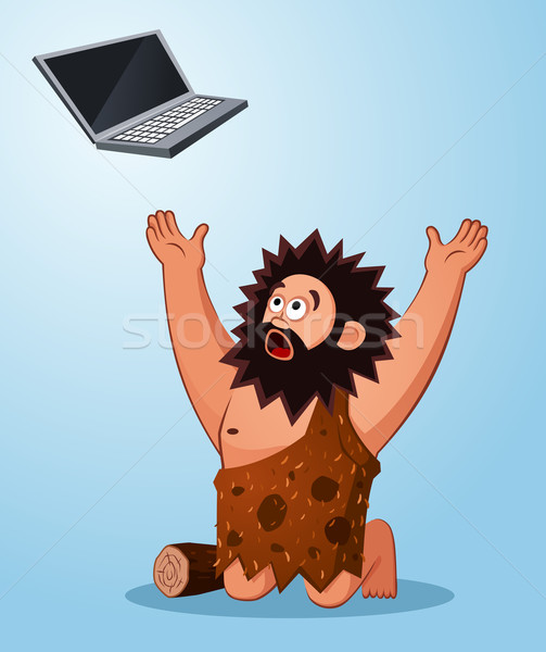 caveman worshiping a laptop Stock photo © riedjal