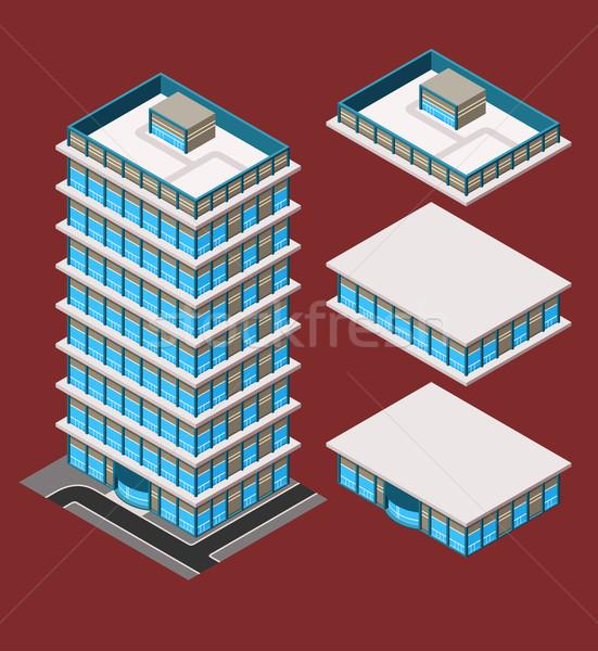 isometric modern building Stock photo © riedjal
